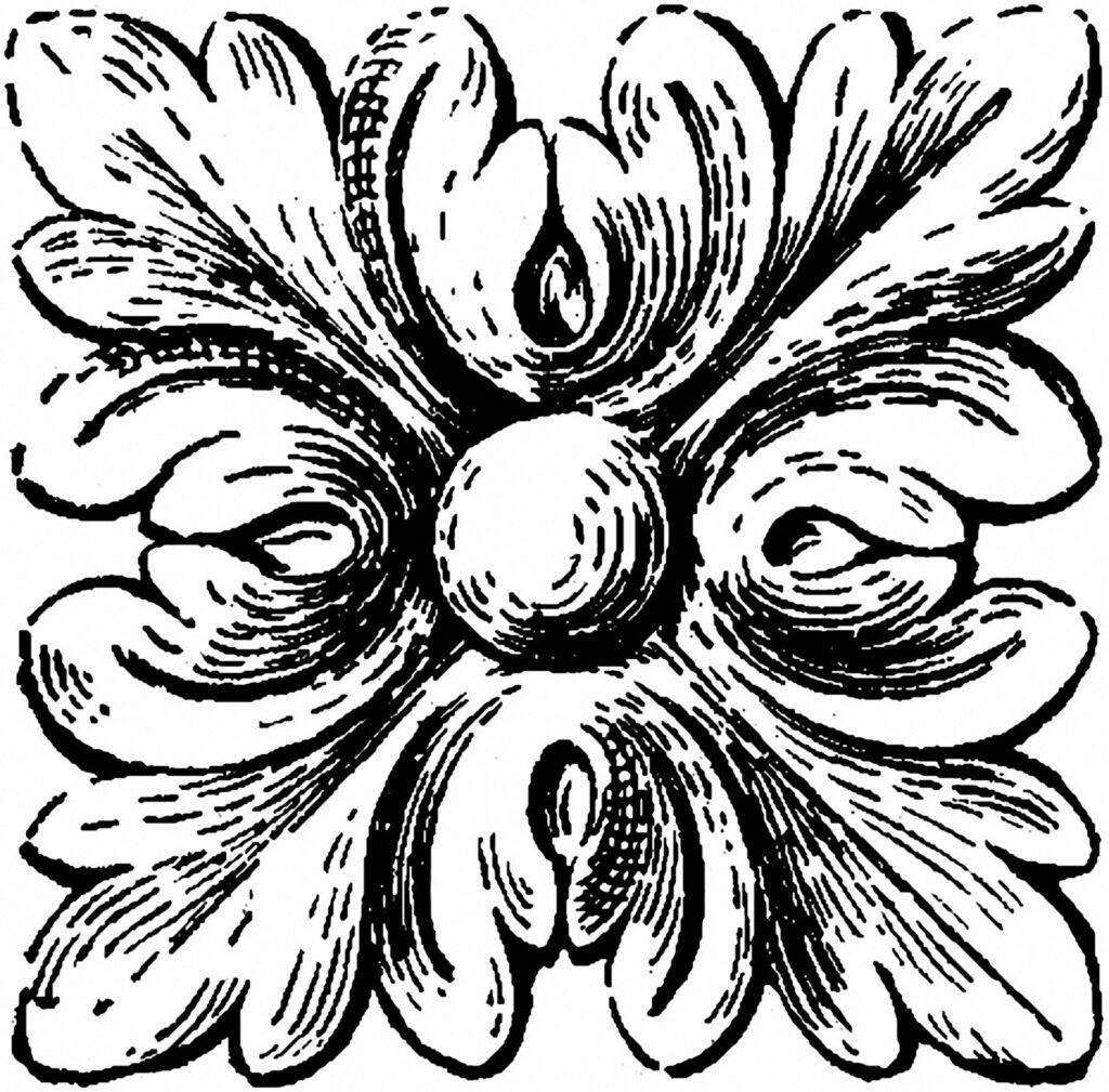 carved corner block illustration
