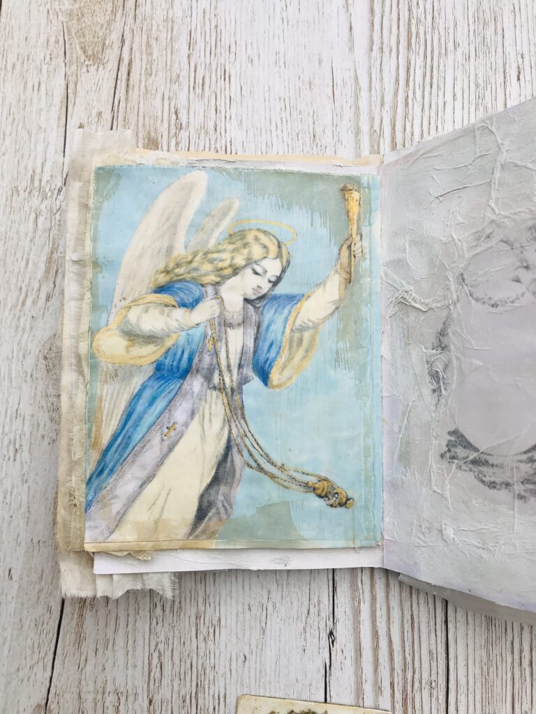 angel journal page torch incense