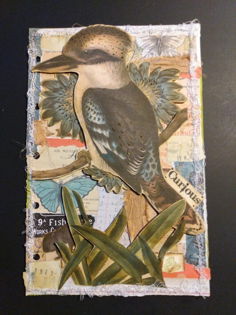 Blue Kookaburra junk journal page