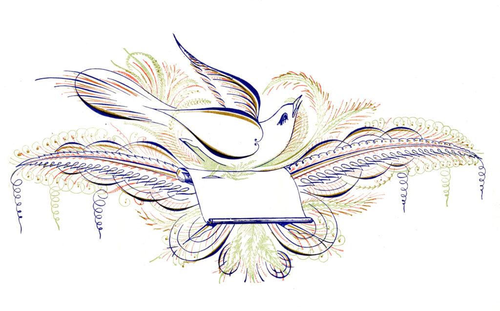 Spencerian label bird clipart