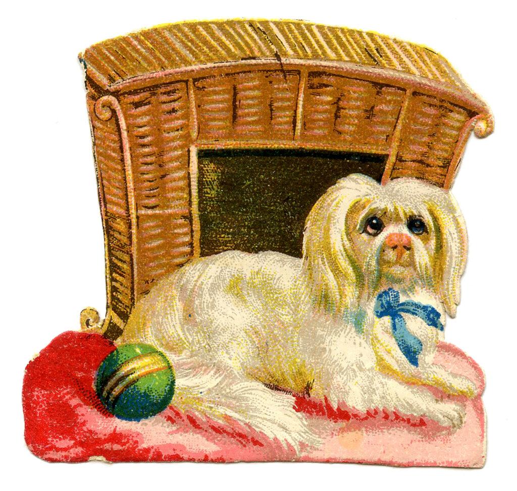 wicker dog basket house clipart