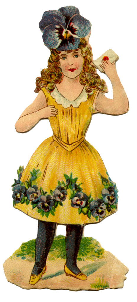 Girl yellow dress flower hair illustration