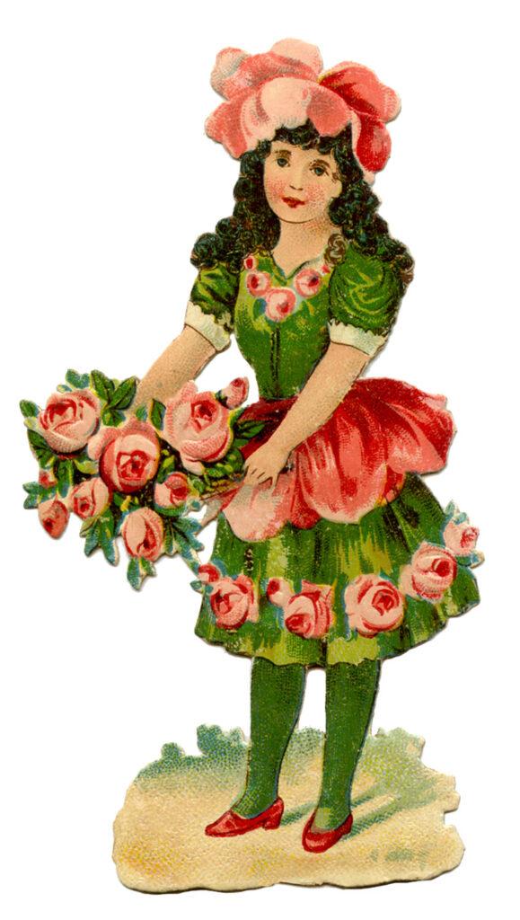 girl green dress flowers roses image