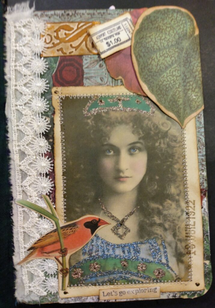 vintage girl bird junk journal page