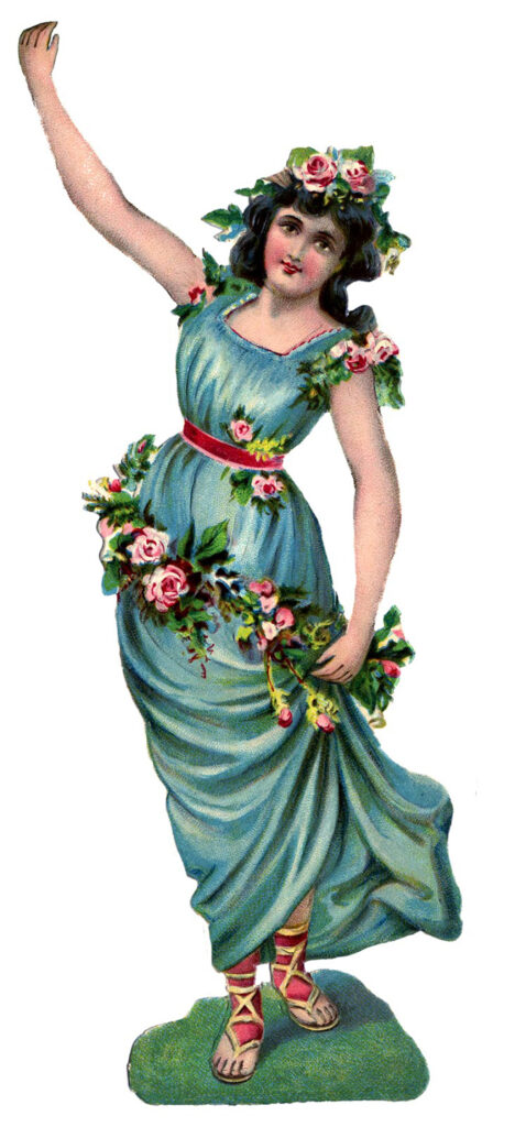 Lady Grecian gown flowers image