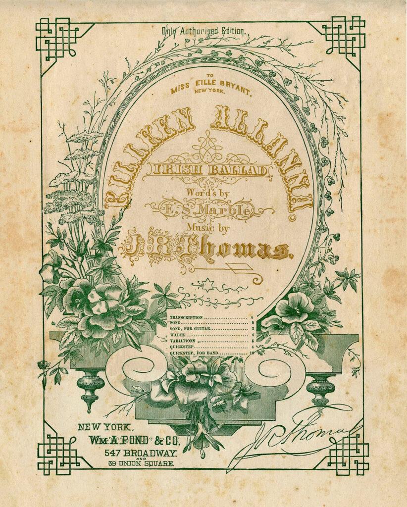 green irish sheet music cover typography illustration