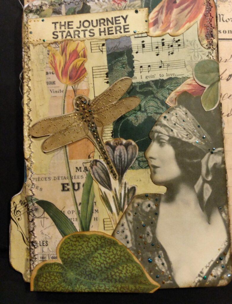 Boho lady dragonfly journal page