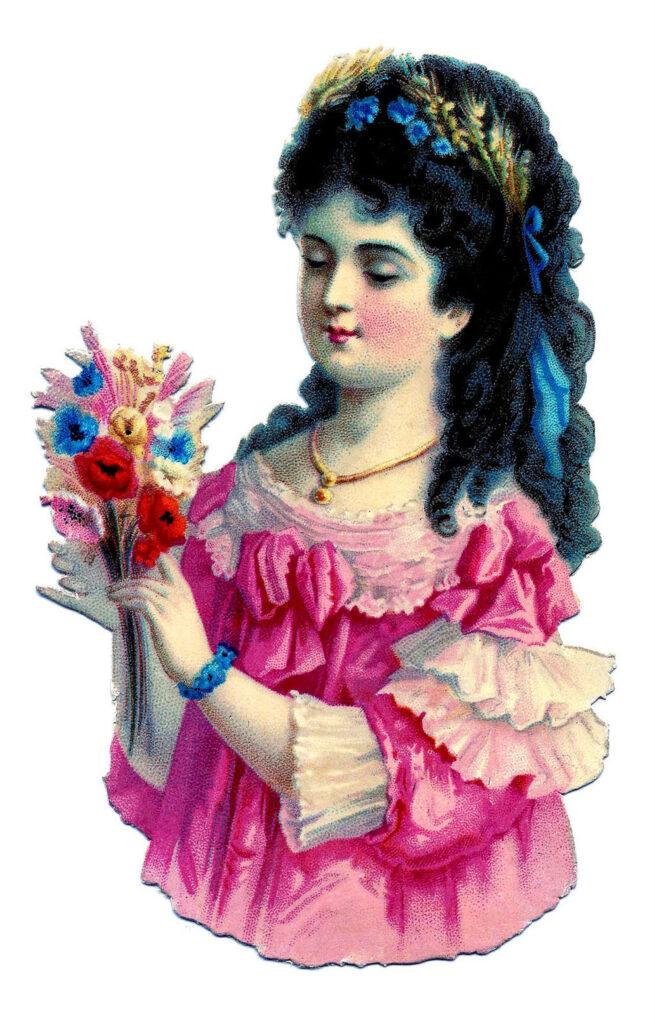 girl pink dress flowers image