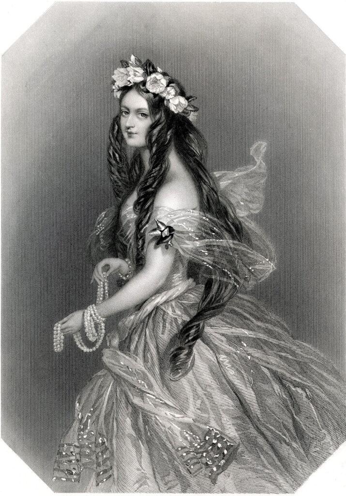 black white portrait lady pearls clipart