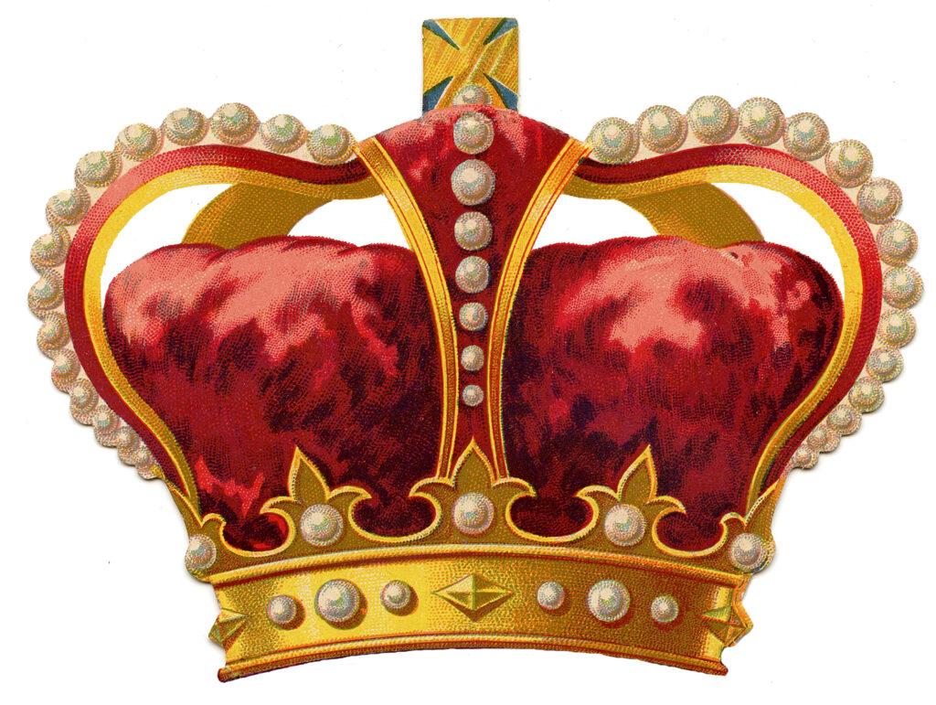 red velvet vintage crown pearls image