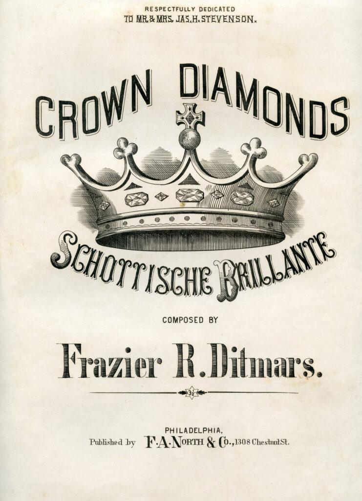 crown diamonds sheet music illustration