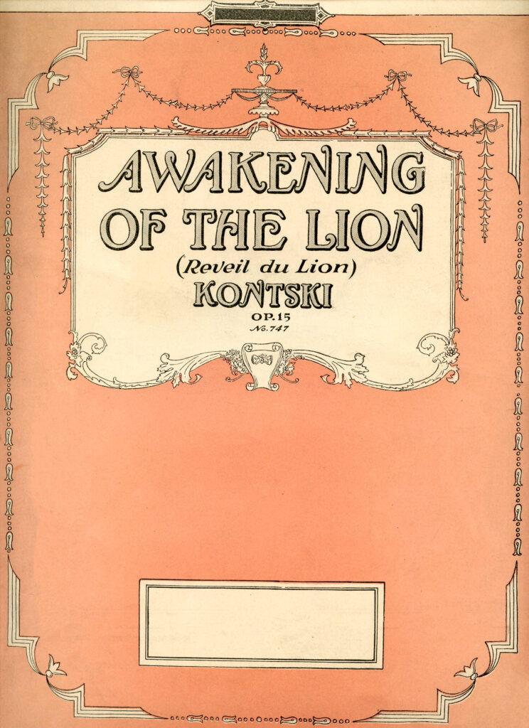 vintage pink sheet music cover illustration