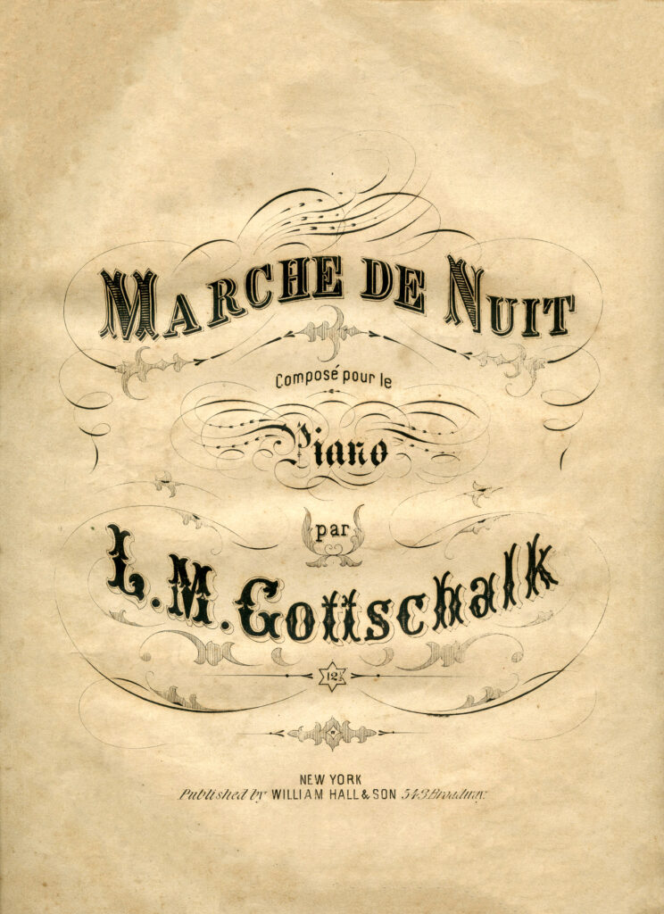 Marches de nuit typography sheet music image