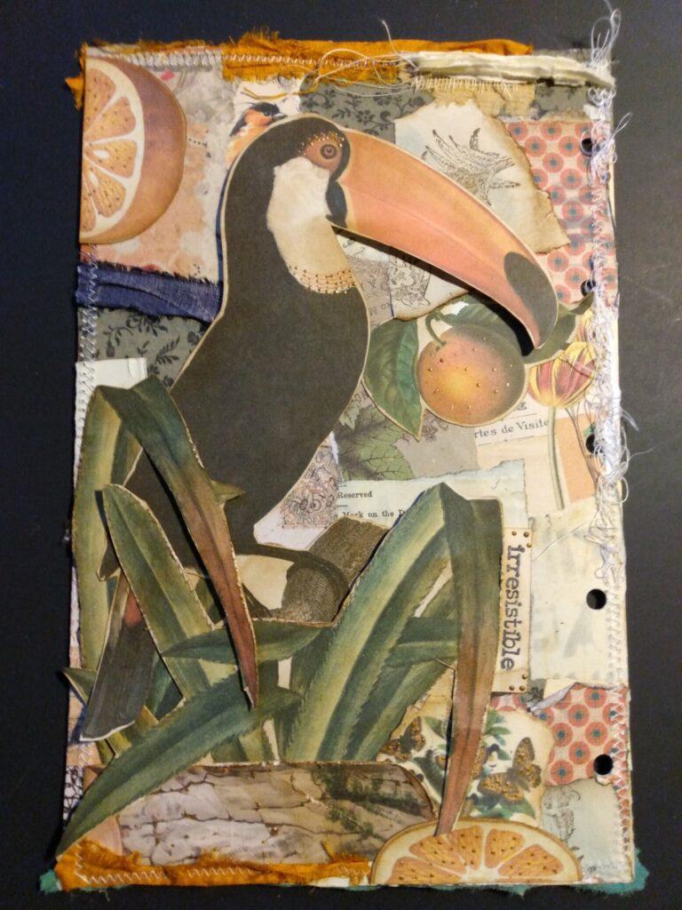 Toucan vintage ephemera junk journal page