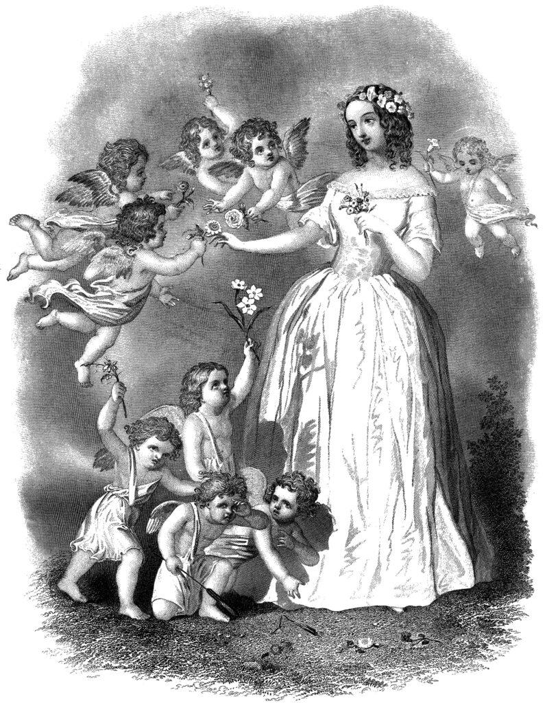 Victorian lady cherubs flowers hair illustration