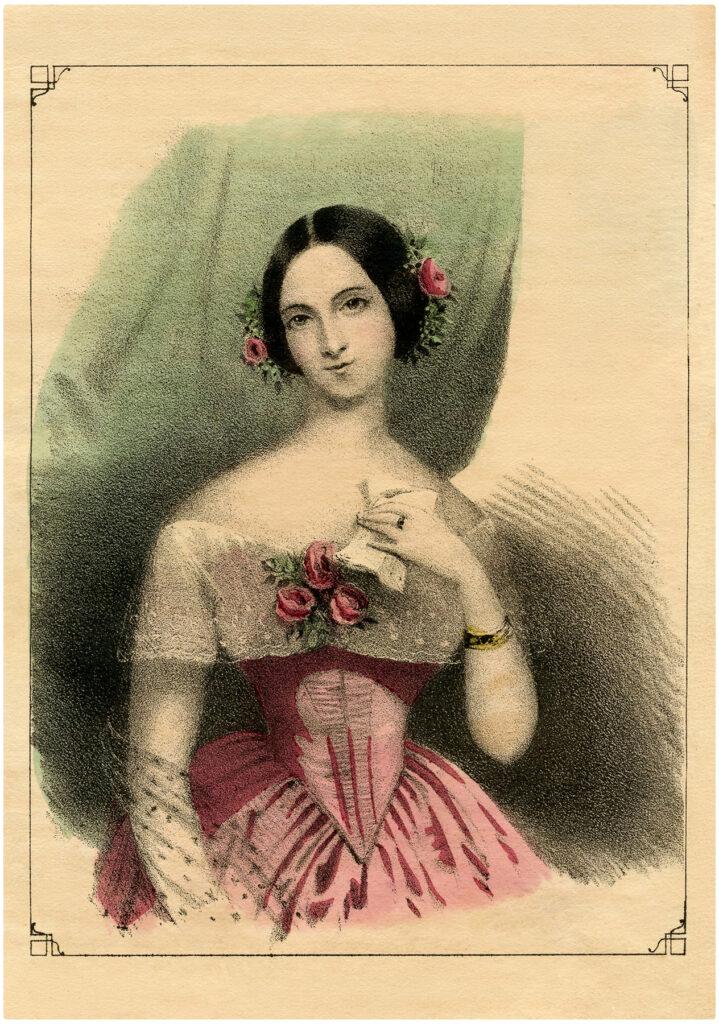 Victorian Lady Roses hair illustration