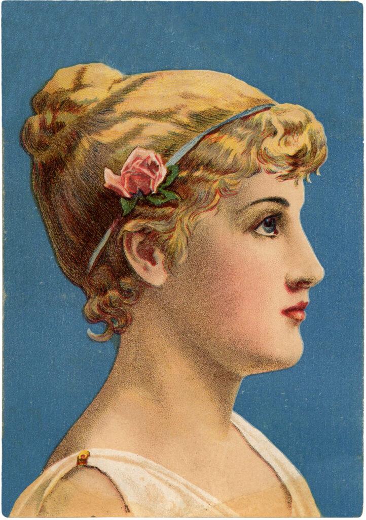 vintage beauty profile flower headband image