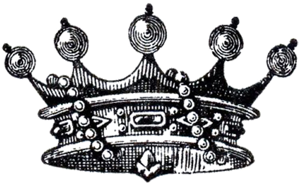 vintage crown pearls illustration