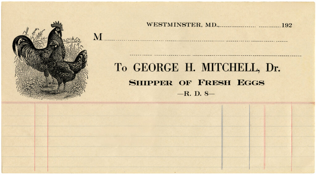 chicken antique invoice image