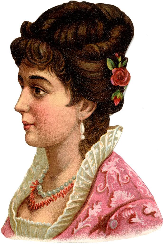vintage lady pink dress flowers hair image