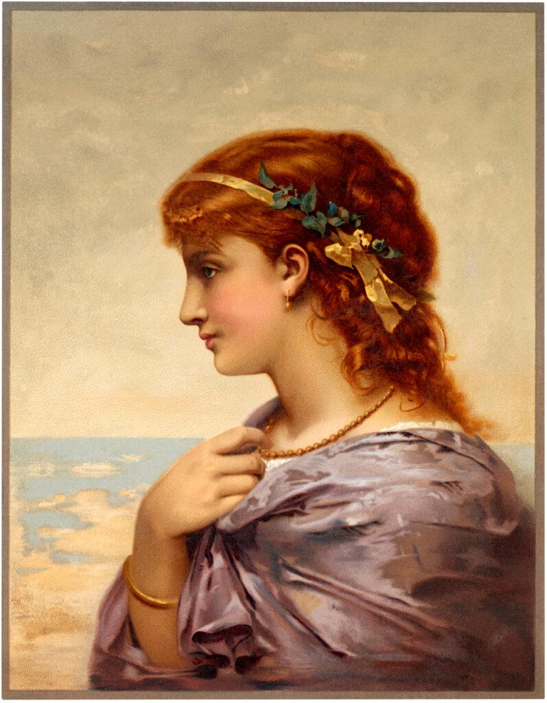 red hair woman flowers seaside image