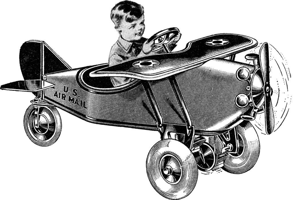 vintage toy airplane boy image