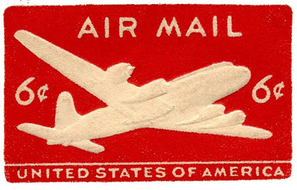 red airmail postage stamp clipart