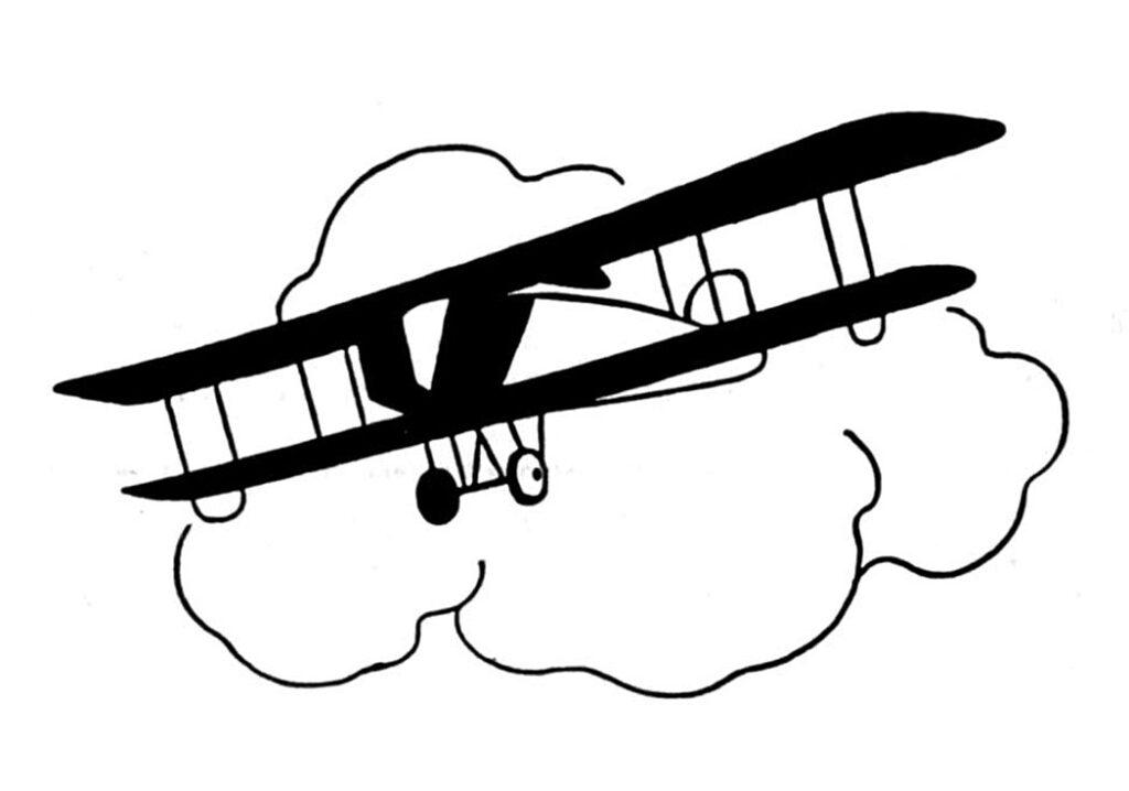 vintage biplane cloud clipart
