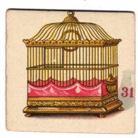 birdcage vintage game card illustration