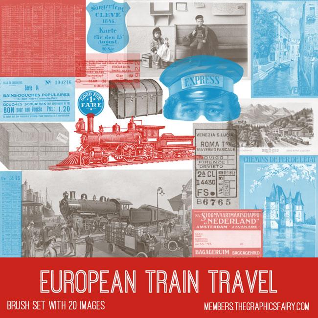 vintage European train travel ephemera brush set
