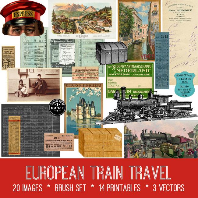 European train travel vintage images