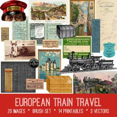 vintage European train travel ephemera bundle