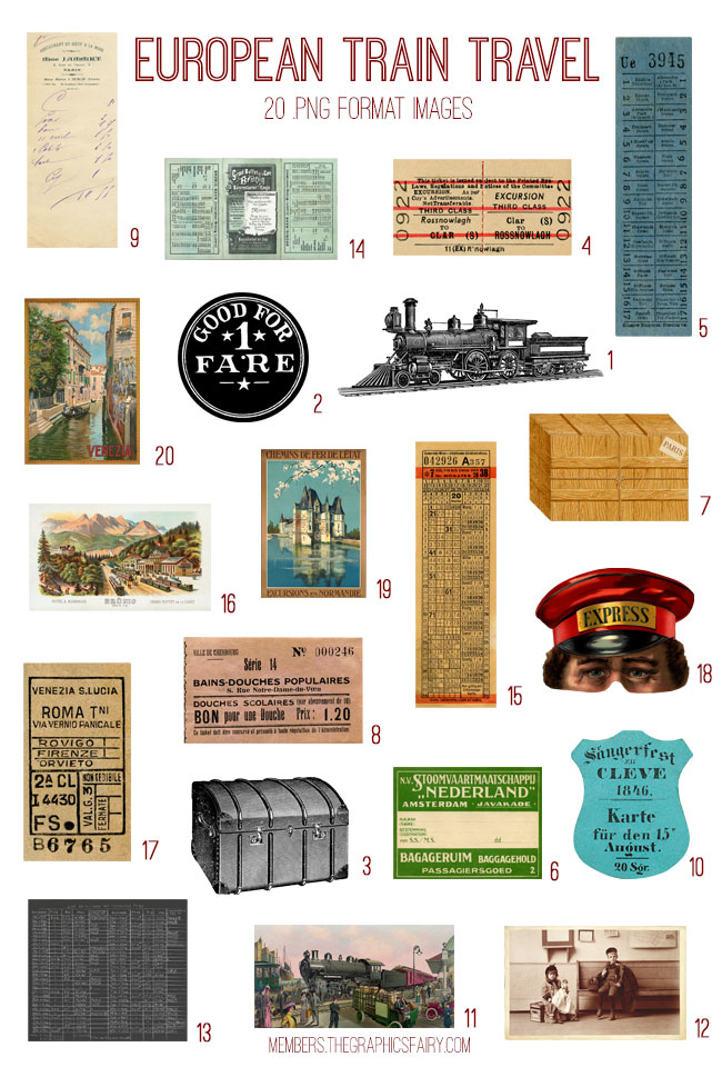 vintage European train travel ephemera digital image bundle