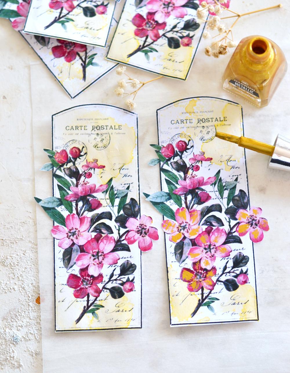 DIY Faux Enamel Nail Polish Blossom Tags