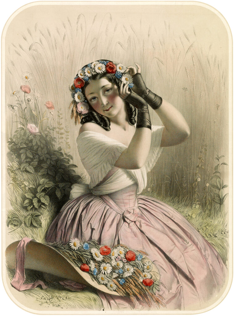 Victorian lady flowers hair hat image