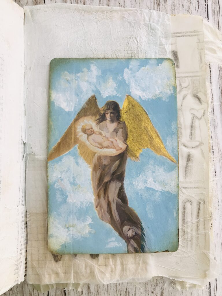 hand painted angel card