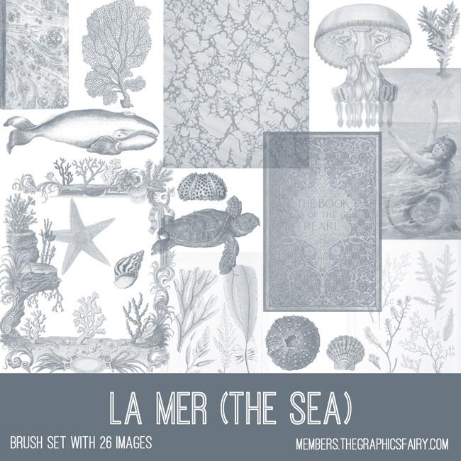 vintage la mer the sea ephemera brush set