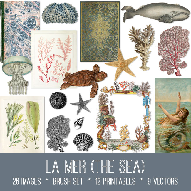 La Mer the sea ephemera vintage images