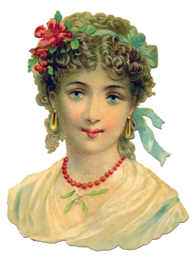 lady bust hair flowers ribbon clip art