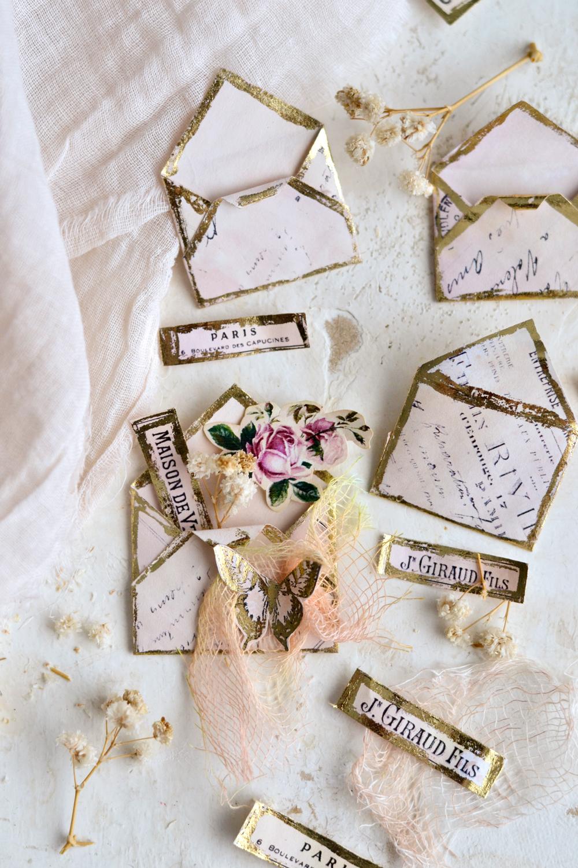 Vintage French Gold Foil Mini Envelopes