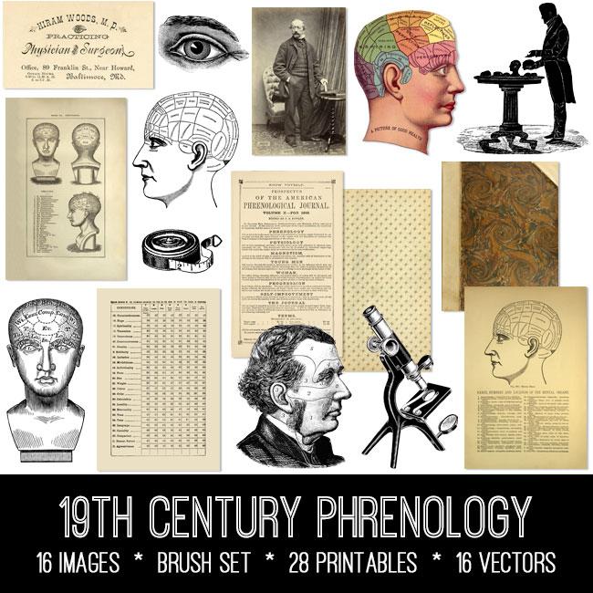 19th Century Phrenology ephemera vintage images