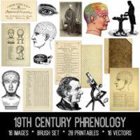 19th century phrenology ephemera bundle