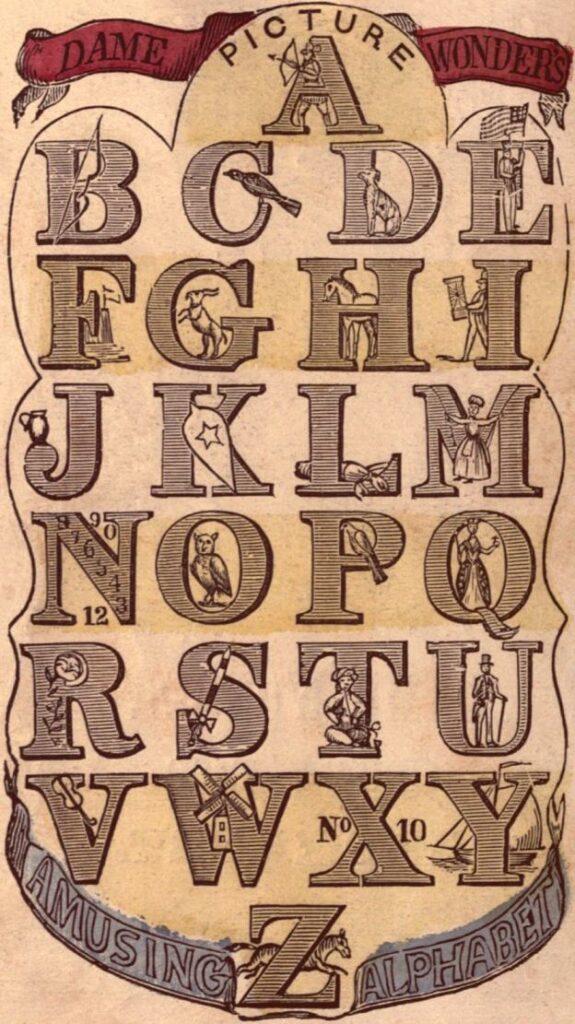 Vintage typography alphabet clipart