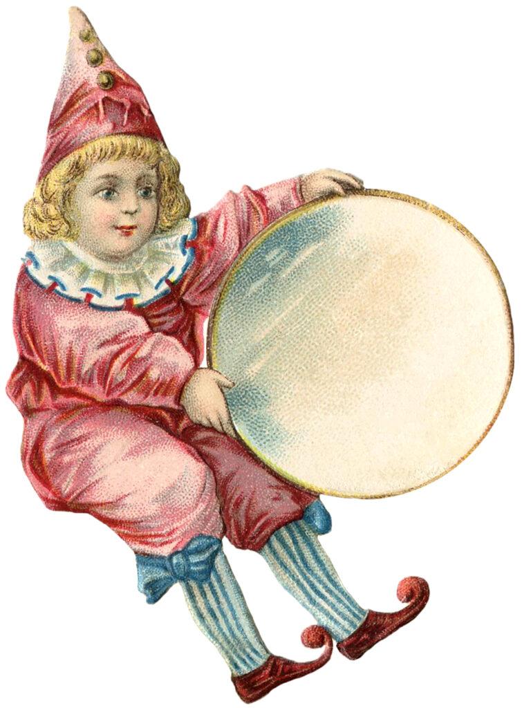antique clown drum image