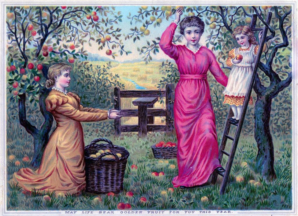 mother daughter apple harvest orchard illustration