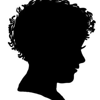 boy profile silhouette black white clipart