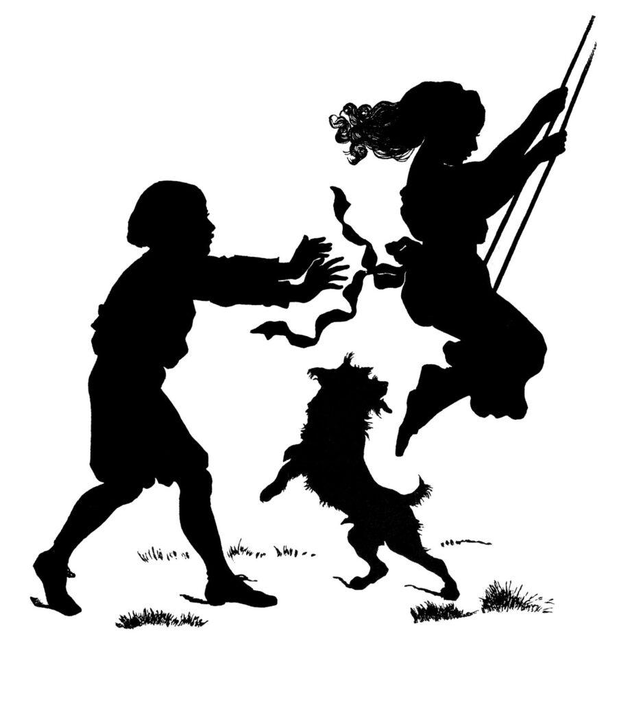 children swing dog silhouette illustration