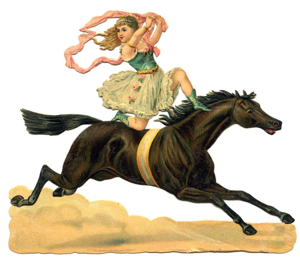 circus acrobat girl horse vintage illustration