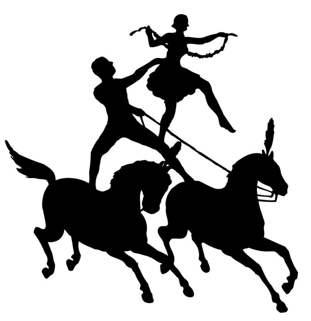 circus performers horses silhouette image