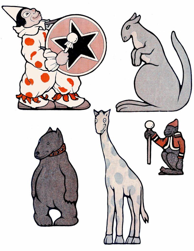 circus clown animals illustration